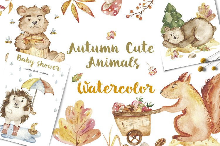 Autumn animals watercolor clipart. Bear, squirrel, hedgehog