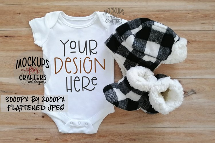 Baby Outfit with buffalo plaid accessories, MOCK-UP