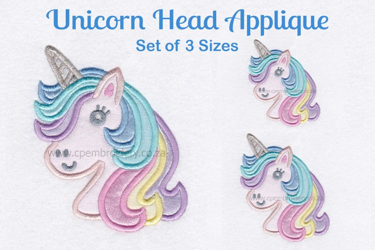 Unicorn Head Applique Machine Embroidery Design example image 1