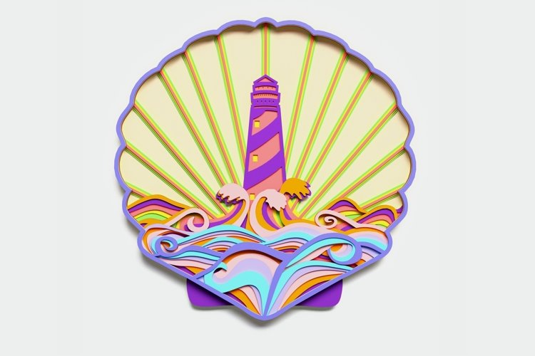 Multilayer Lighthouse Mandala, Vector file for cutting example image 1