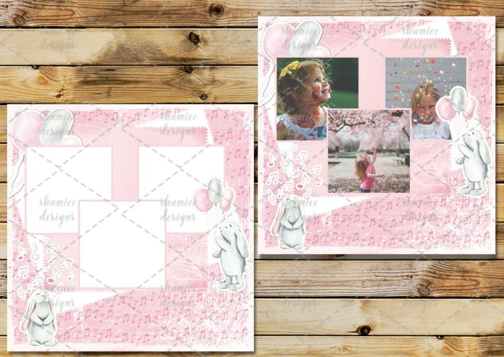 Pink Bunny Scrapbook layout example image 1