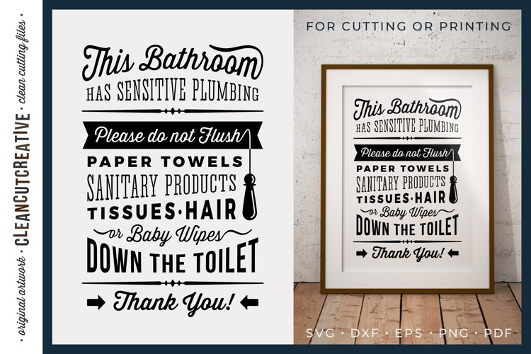 Bathroom Sign Sensitive Plumbing|Do not flush design SVG PDF example image 1