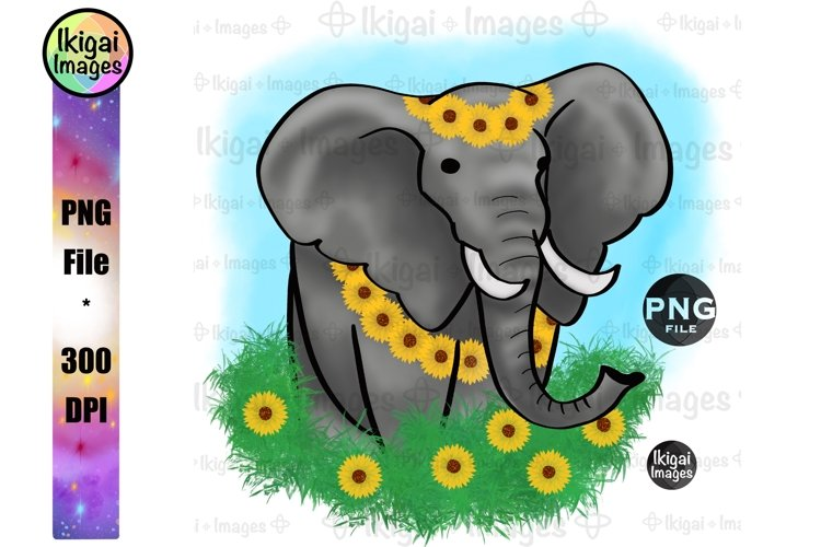 Sunflowers Elephant Sublimation, Floral Boho Animal PNG