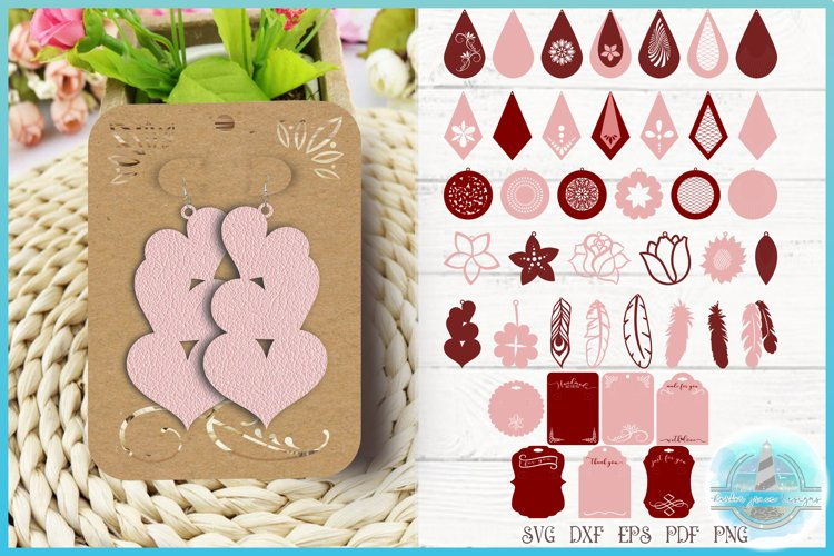 Faux Leather Earring SVG Bundle, Laser Necklace Template SVG example image 1