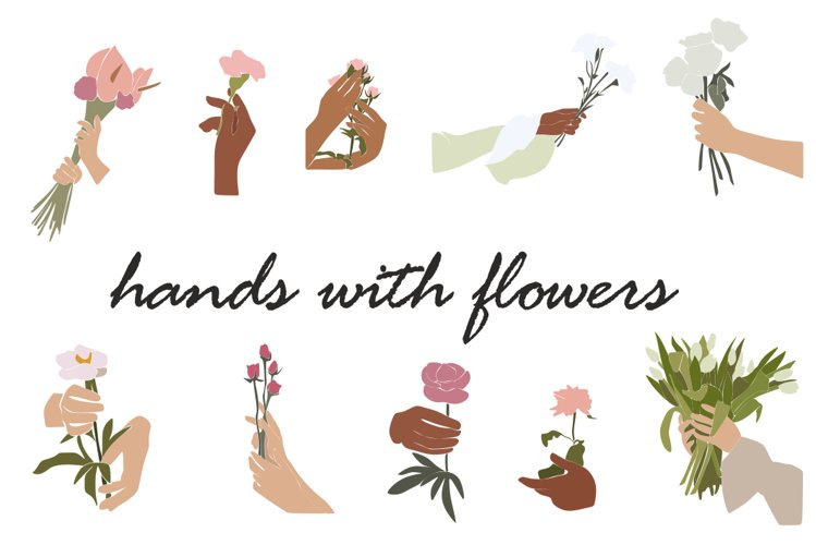 Hands with flowers,bouquet of flowers,spring clipart, summer
