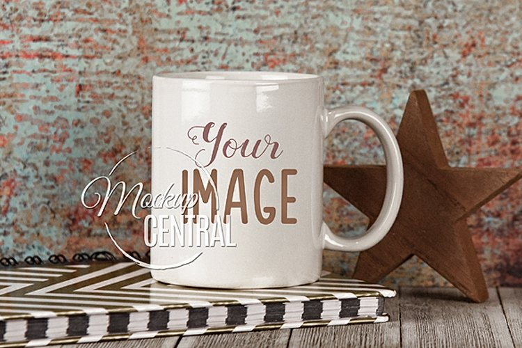 Blank White Grunge Star Coffee Cup Mockup on Table, JPG example image 1