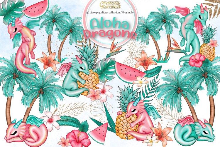 Aloha Dragons - cute tropical summer clipart