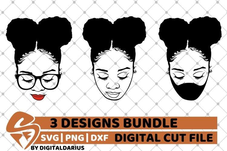 Messy Bun Designs Bundle svg, Afro Puffs svg, Black Woman example image 1