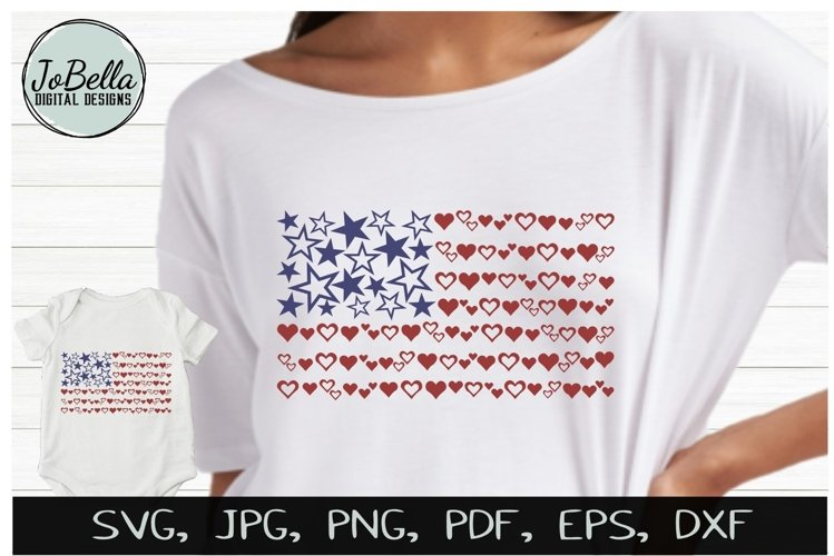 Hearts & Stars American Flag SVG & July 4th Sublimation PNG