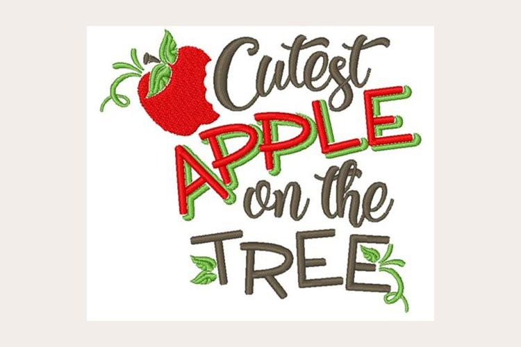 Cutest Apple On The Tree - Machine Embroidery Design