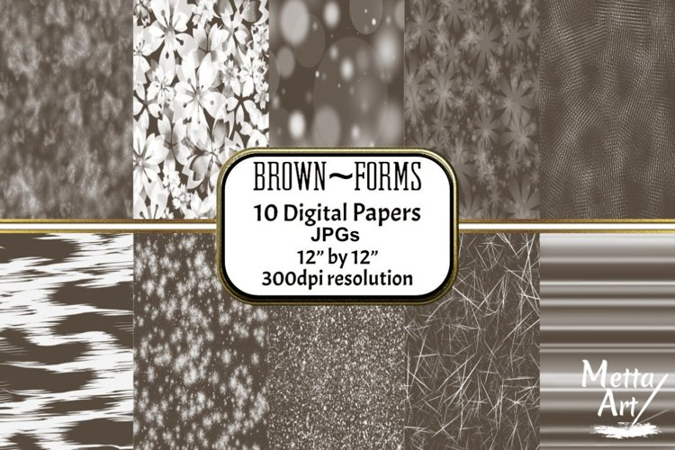 Brown Forms - 10 Digital Papers/Backgrounds example image 1