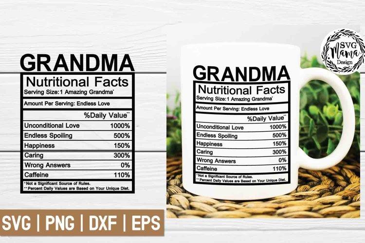 Grandma Nutritional Facts Svg
