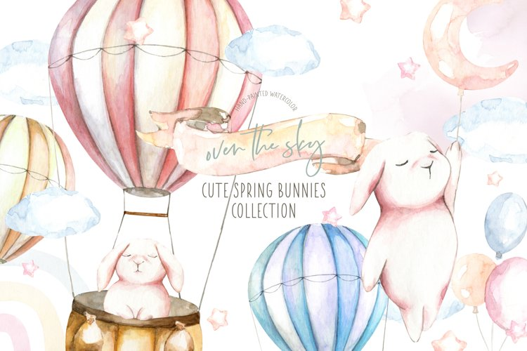 Spring Easter Bunnies Watercolor clipart. Hot air balloon