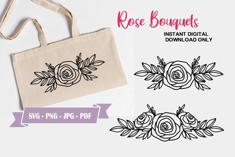 Rose Wreath SVG Cut File - Floral Bouquet Clipart example image 1