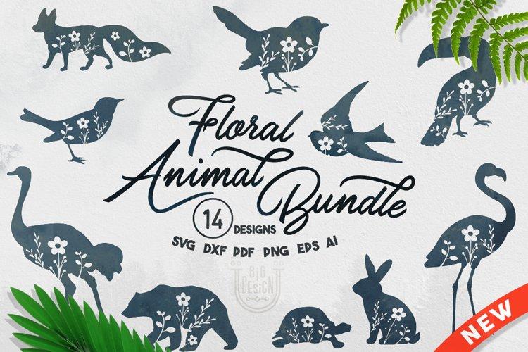 Floral Animal Bundle SVG - 14 SVG Files example image 1