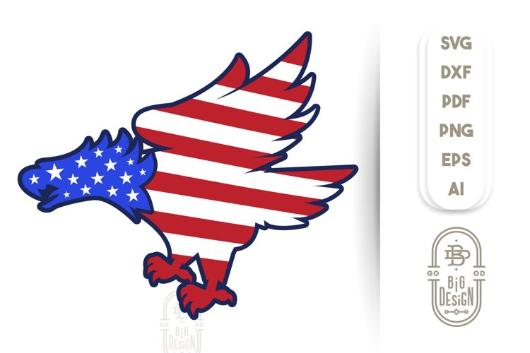 Bald Eagle Silhouette and USA Flag - 4th of July SVG File example image 1
