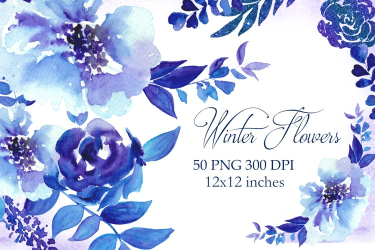 Blue Watercolor Flowers Clipart, Winter Floral Clip Art example image 1