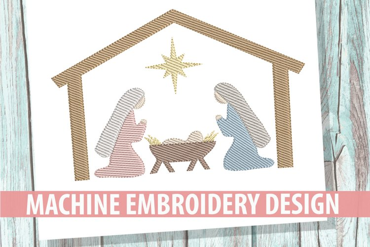 Nativity Sketch Embroidery Design example image 1