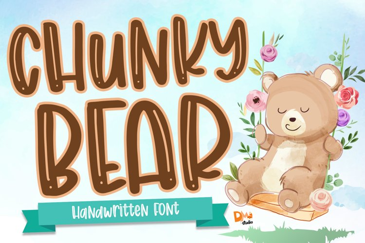 Chunky Bear - Handwritten Font example image 1