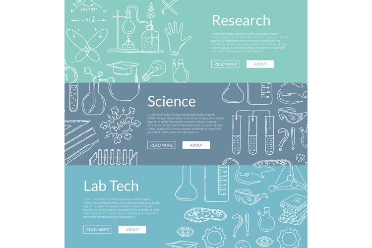 Vector web banner templates with hand drawn science elements example image 1