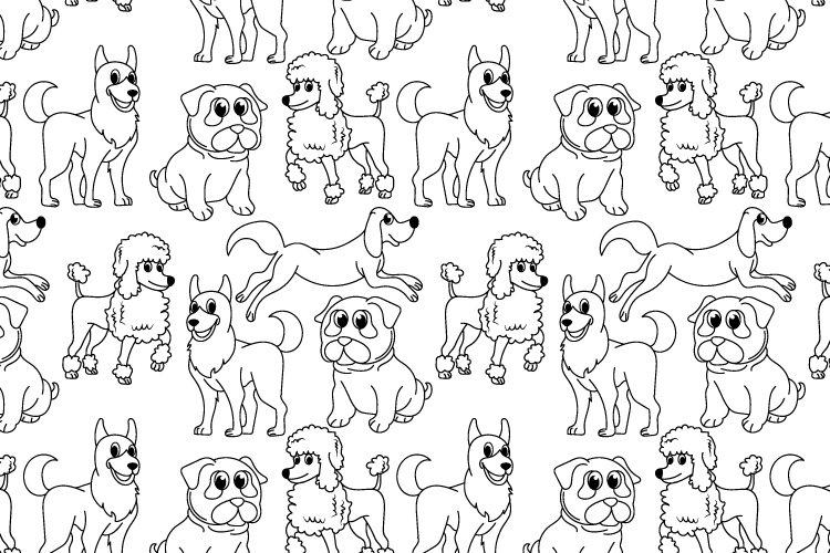 cute dog cartoon seamless pattern example image 1
