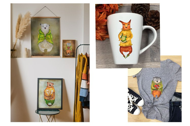 Cute animals Hand painted illustration set fox, bear, badger example 6