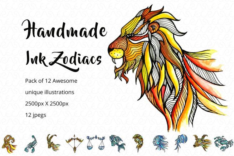 Handmade Ink Horoscope Zodiac Graphic Illustrations Set