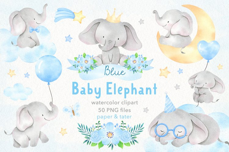 Watercolor Blue Baby Elephants Clipart, Nursery PNG Graphics