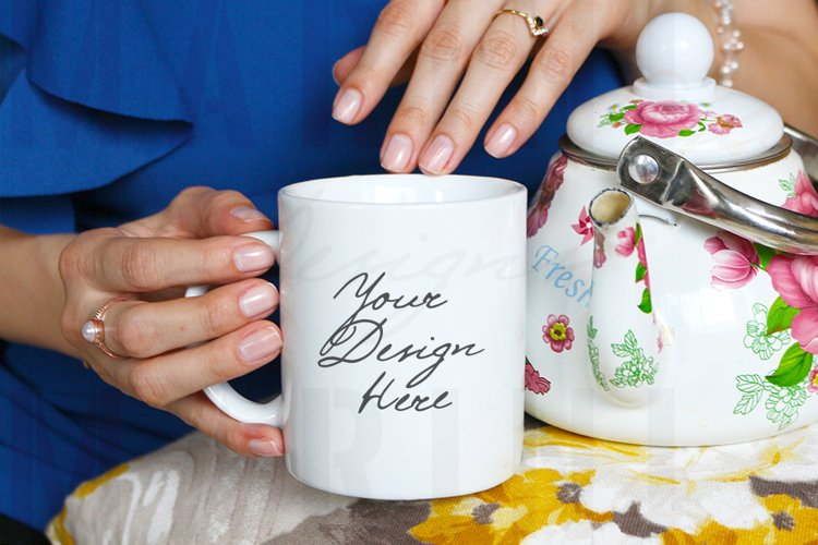 Mug Mockup of Woman with tea pot & ring holding mug, 1020