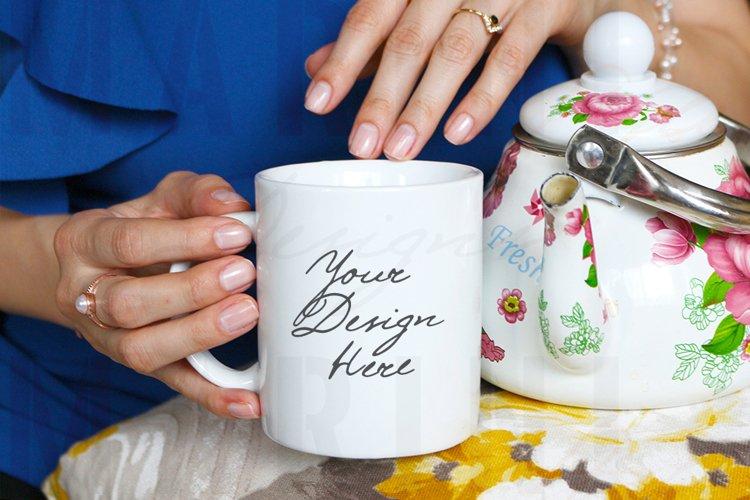 Mug Mockup of Woman with tea pot & ring holding mug, 1020