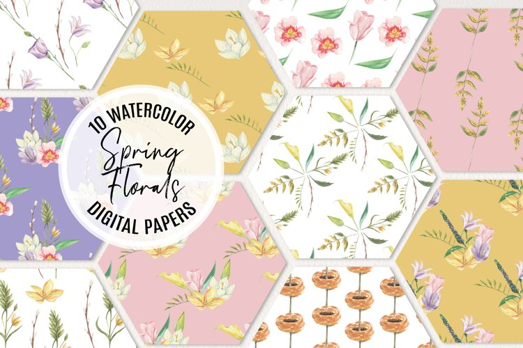 Spring Foliage Florals Pretty Watercolor Seamless Patterns example image 1