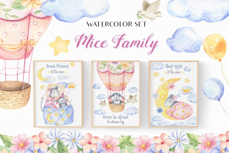 Mice Family - Watercolor Set example