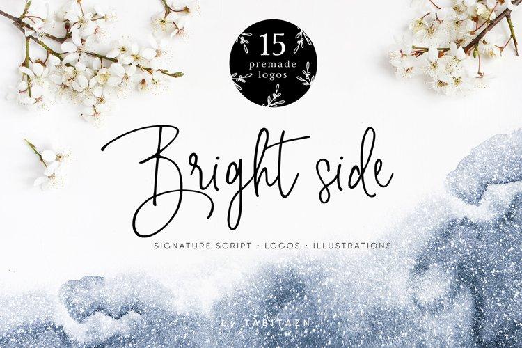 Bright side signature script font logos