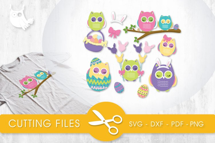 Easter Owls cutting files svg, dxf, pdf, eps included - cut files for cricut and silhouette - Cutting Files SVG example image 1