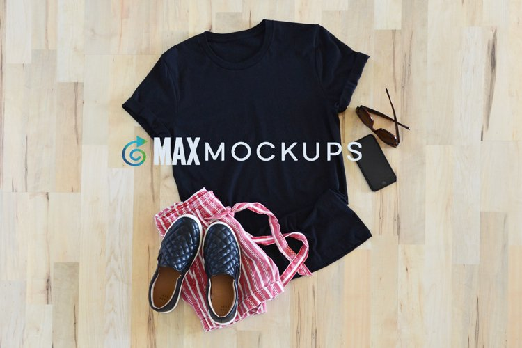 Black Shirt Mockup, Bella Flatlay Design Jpg, Spring, Summer