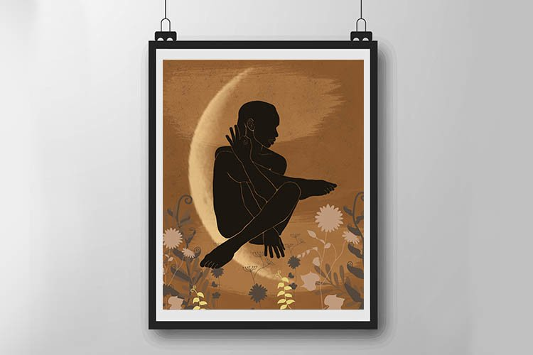 Dark silhouette of a yoga girl example image 1