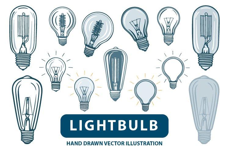 Lightbulb. Lightbulbs hand drawn vector illustrations set.