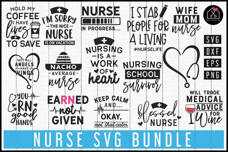 Nurse SVG DXF EPS PNG | Nurse SVG Bundle | MB69 example image 1