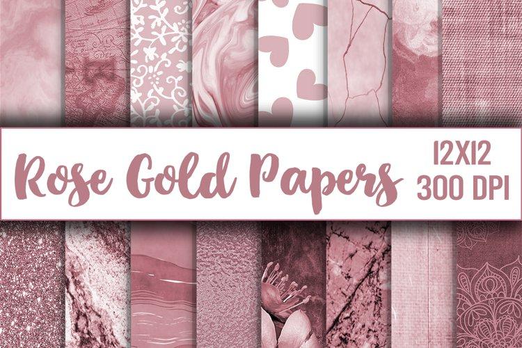 rose gold digital paper, texture, scrapbook paper, printable example image 1