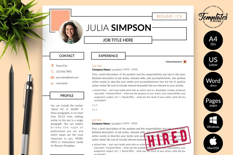 Creative Resume CV Template for Word & Pages Julia Simpson