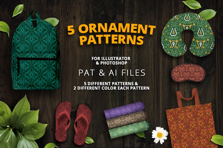 5 Ornament Patterns Vector example image 1