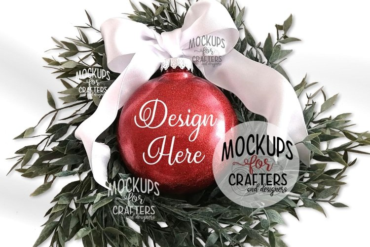 Red Glitter Ornament Mock-Up
