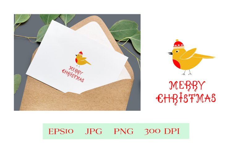 Merry Christmas Cute Bird for Christmas Greeting Card example image 1