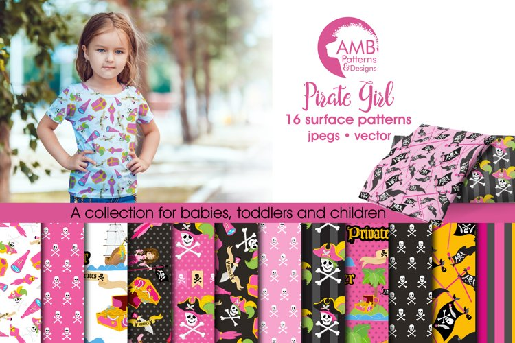 Pink Pirate Girls pattern, papers, surface design AMB-1108 example image 1