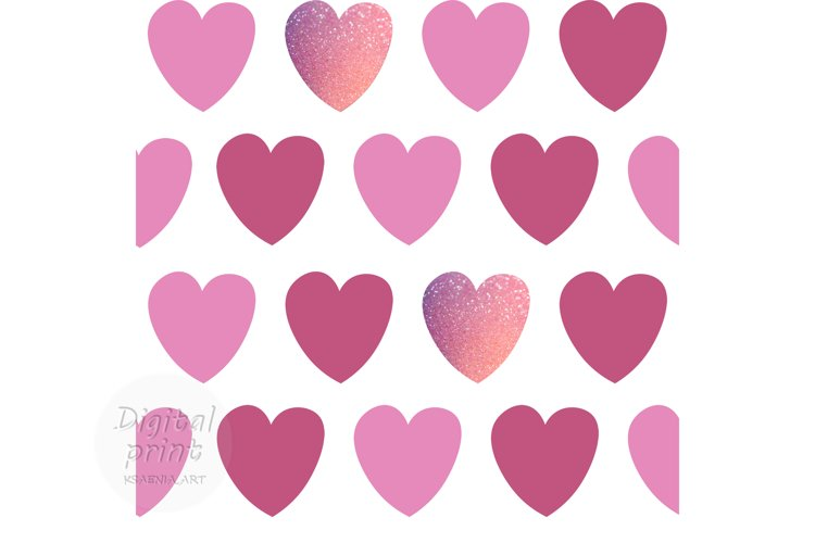 Pink hearts seamless pattern Valentine's digital paper example image 1