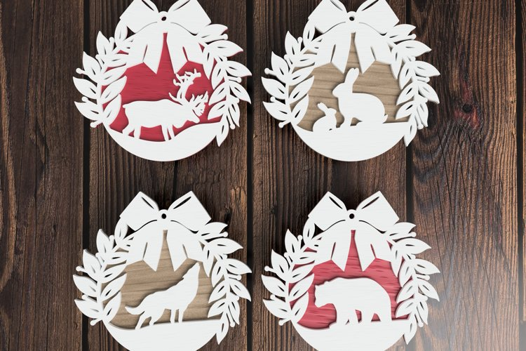 Christmas ornament laser cut file Bundle - Animal Wreaths example image 1
