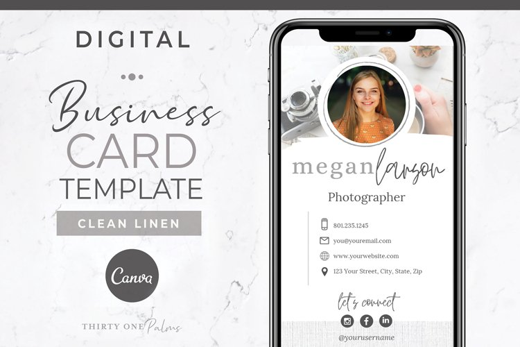 Digital Business Card Template | Canva Template example image 1