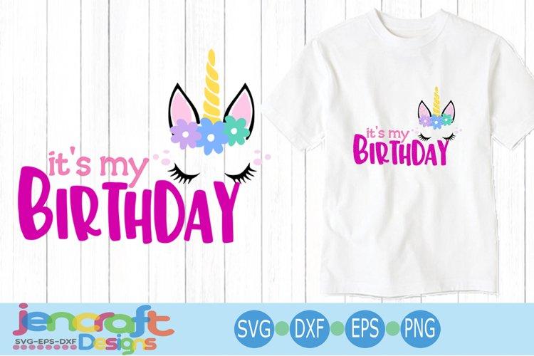 Girl Birthday Unicorn svg, eps, dxf