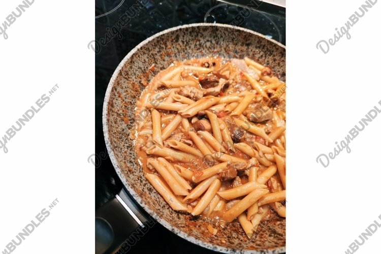Tyrolean pork penne rigate feather pasta food pan photo example image 1