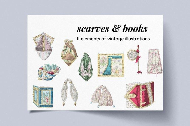 Vintage Illustrations for Scrapbookig, Scarves and Books